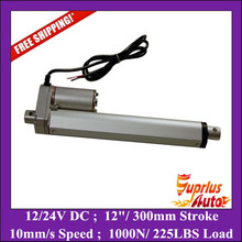 "Buy Free 12""/ 300mm stroke linear actuator 12v max load 1000N/ 225LBS heavy duty linear actuator for $70.85 in AliExpress store"