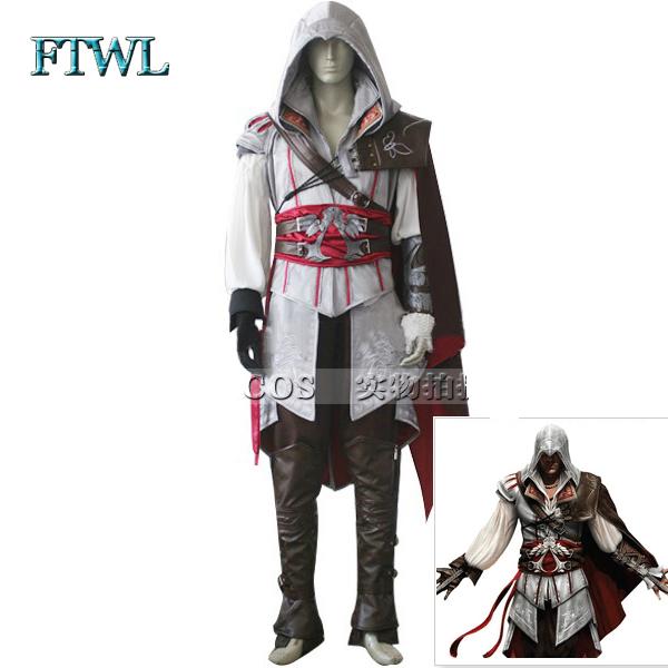 Кредо убийцы 2 Эцио косплей Хэллоуин костюм мужчины маскарадный костюм полный комплект заказной