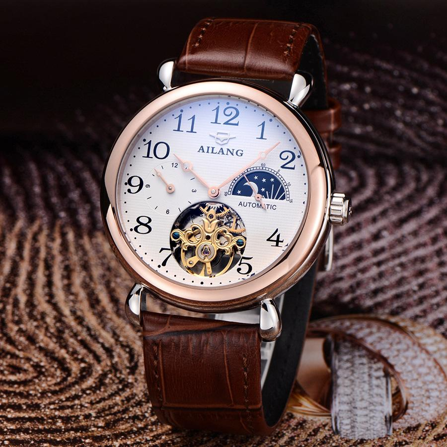 Фотография Fashion Tourbillon Men Dress Watches Automatic Real Leather Business Wristwatch Moon Phrase Sapphire Relojes Analog 3ATM NW3290