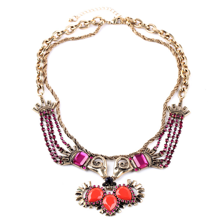 2015 Newest Design Stylish Accessories Two Chains Rhinestone Inlay Totem Animals Tribal Vintage Egyptian Necklace(China (Mainland))