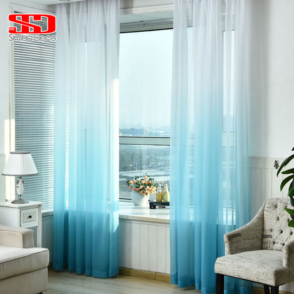 Gradient Blue Tulle Curtains for Living Room Kids Bedroom Voile Veil Lining Sheer Curtain Single Panel Window Custom Size Shades(China (Mainland))