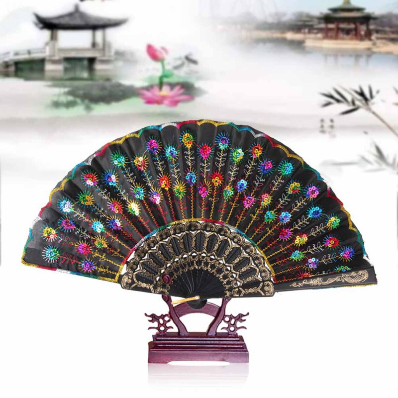 Home Decoration Crafts Vintage Retro Peacock Folding Fan Hand Plastic Lace Dance Fans(China (Mainland))