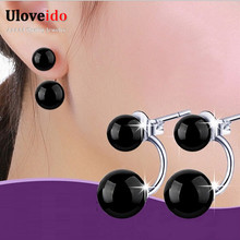 2016 Gift Girlfriend Female Silver Black Stone Double Sided Jade Stud Earrings Women Wedding Red Stones Dubbel Oorbellen WH100(China (Mainland))
