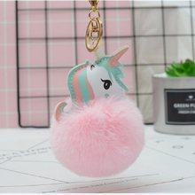 Anime Brinquedo Do Cavalo Bonito Unicórnio Flamingo KeyChain Brinquedo De Pelúcia Pingente de Metal Mulheres Fofo Pom Pom Pele Saco Chaveiro Pendurar brinquedos de Pelúcia brinquedo(China)