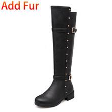 Bonjomarisa Bán Lớn Size 34-43 Đi Giày Nữ Thanh Lịch Nền Tảng Đầu Gối Cao Giày Nữ 2020 Thường Ngày Med gót Giày Người Phụ Nữ(China)