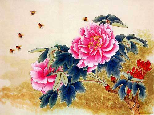 Free shipping 2013 new wall home decoration pictures, Luxurious Peonies with Lovely Bees Reproduction of  archaic oil painting
