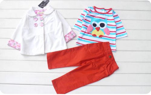 3PCS Baby Boy Girl Kid Owl Outfits Sets Suit Clothes Coat+T-shirt+Pants 3-24M(China (Mainland))