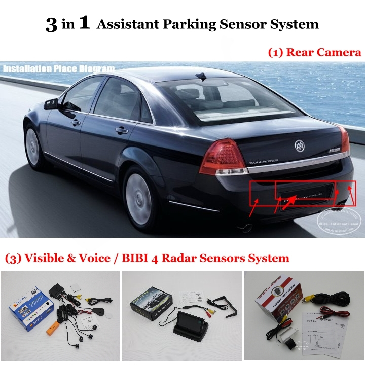 """For Buick Park Avenue - Car Parking Sensors + Rear View Camera + 4.3"""" LCD Screen = 3 in 1 Visual Alarm Parking System(China (Mainland))"""