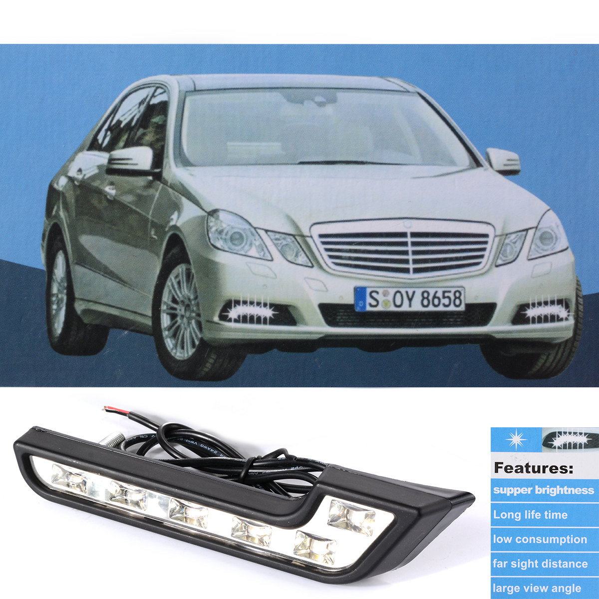2x Car Daytime Running DRL Bright Driving Day Light Head Lamp 6 LED white car styling MA140(China (Mainland))