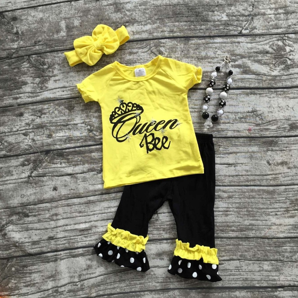hot sale baby girls Queen Bee outifts crown clothes girls boutique outfits ruffle capris sets with matching necklace and bow set(China (Mainland))