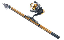 2015 новый рыболовные снасти комбо рок удочка + спиннингом с линии + 5 шт. колючая рыболовные крючки + 2 шт. стали разъем комплект