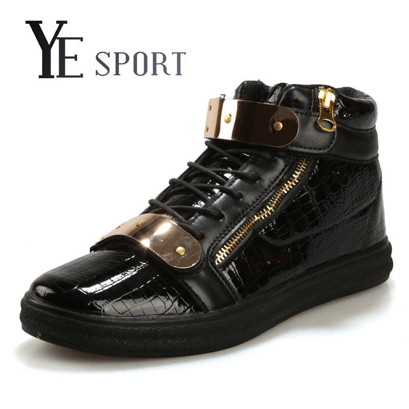 Ye Sport 2016 New High Top Skateboard shoes Fashion Sneakers Men Shoes Snake Printed Leather Skateboarding Shoes Sport Shoes