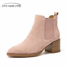 Frauen Chelsea Stiefel Aus Echtem Leder Kuh Wildleder Spitz Ankle Länge Hohe Ferse Damen Schuhe Handgemachte Slip auf Stiefel Steinmeier(China)