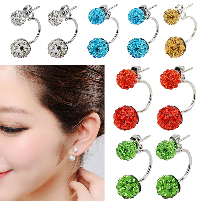 Fashion Double Side Shamballa Earrings,Fashion Crystal Disco Ball Stud Earrings For Women Jewelry,Bottom Is Stainless Steel(China (Mainland))