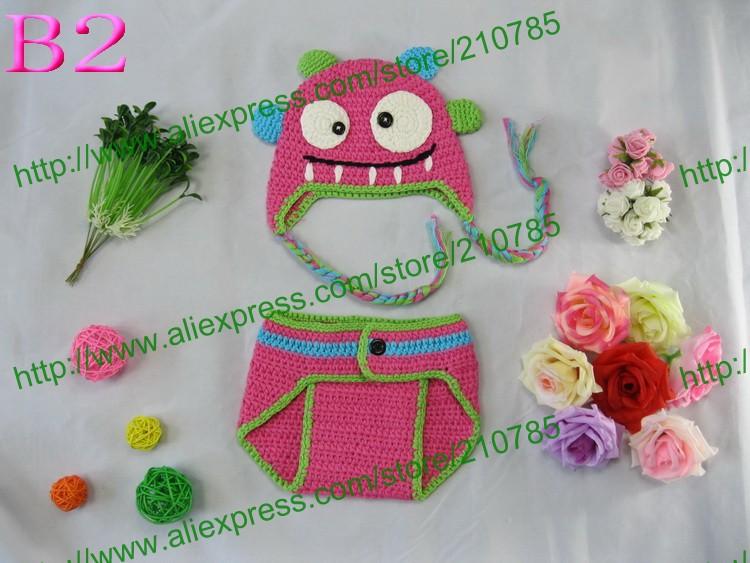 Free shipping,5sets handmade Crochet Pink monster hat and diaper cover set Newborn photo prop Size Newborn-6 months(China (Mainland))