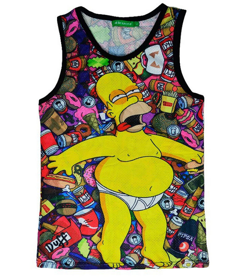 HOT! Gym shark funny Simpson 2015 latest print 3D tank top female / male fashion vest T shirt plus size M-XXL(China (Mainland))
