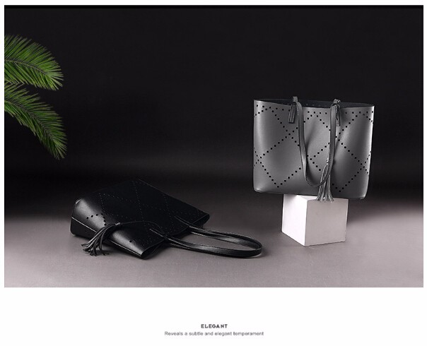 ซื้อ สีดำ/สีเทาคอมโพสิตกระเป๋าสตรีกระเป๋าMessengerได้กลวงออกสิริกระเป๋าถือผู้หญิงชุดหนังPUกระเป๋าถือและกระเป๋าคลัทช์2 Set/ชิ้น