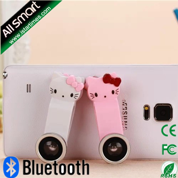Cute Hello Kitty Universal 3in1 Clip Fish Eye Lens+ Wide Angle +Macro Mobile Phone camera Lens for iphone/samsung/HTC/LG