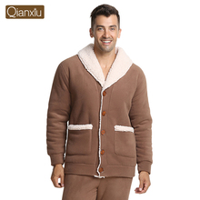 Qianxiu Brand Pajamas Winter Thicken Casual  Pajama Set Plus Size Women and Men Cardigan Lounge Wear(China (Mainland))