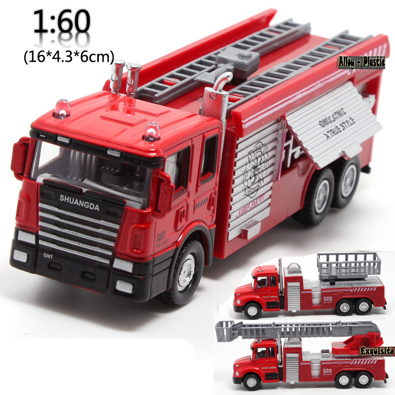 3Pcs Toy fire truck with Lighting music Alloy Pull back kids car toys 1:60(China (Mainland))