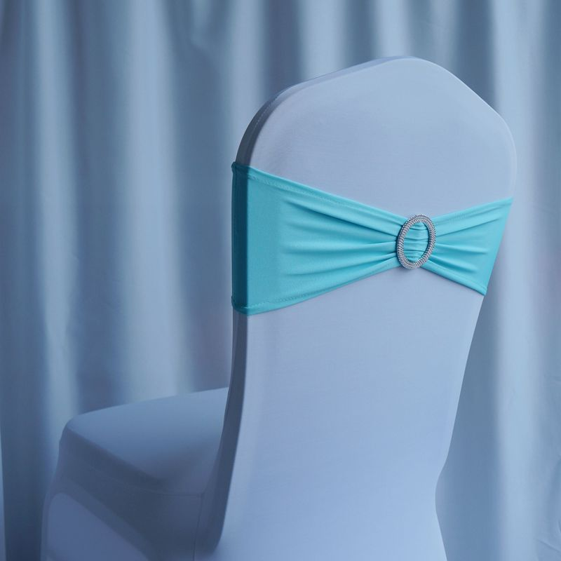 Free shipping 200pcs Tiffany Blue Elastic Stretch Chair Sash Spandex Lycra Chair Bands With Plastic Round