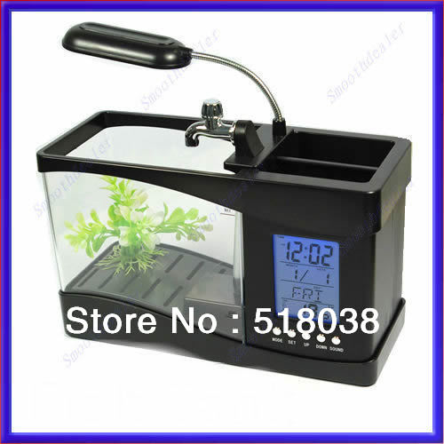 1PC GOLD SELLER B39 Mini LCD Desktop Fish Tank Aquarium Clock Timer USB/AA(China (Mainland))