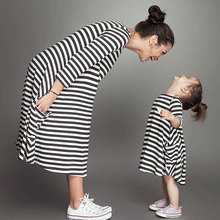Family Matching Outfits baby girl and mom women dress spring girl dress kids pajamas stripe Mother and Girls family Clothing