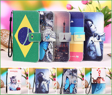 New 100% Special Colourful Cartoon Painting Case PU Leather Flip cover Case For innos D6000, Lanyard Gift +Tracking number