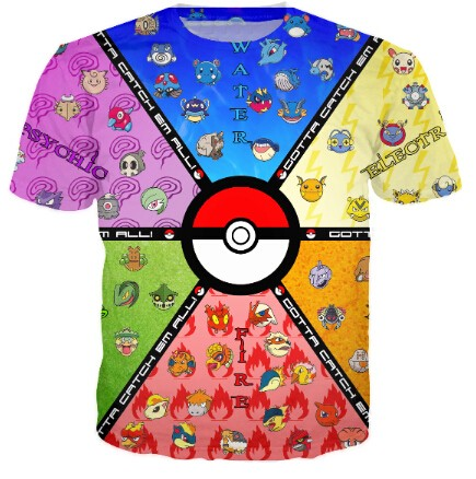 Pocket Monster Pokeball Catch Em All T-Shirt Women Men Summer Style Sport tops Fashion Clothing tees Camisa Pullover Plus Size(China (Mainland))