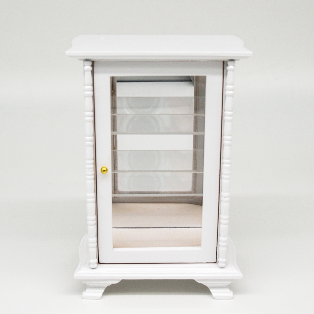 Wooden Dollhouse Furniture 1:12 Miniature White Display Cabinet Mirror Shelving For Re-ment Dolls Accessories(China (Mainland))