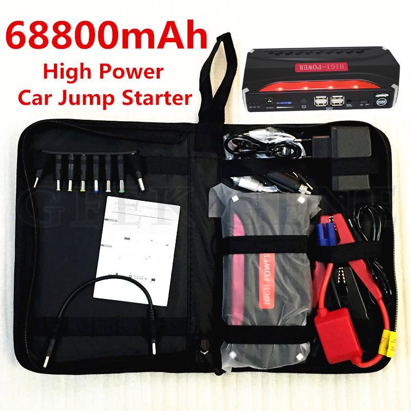 Купить Лучшее Качество Многофункциональный Бензиновый Дизельный Автомобиль Скачок Стартер Зарядное Чрезвычайных Зарядное Устройство 68800 мАч 12 В Portable Power Bank 4USB