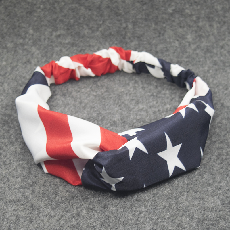 New American Flag Turban Headbands for Women 4th of July USA Headband Elastic Hair Bands Headwrap Bandana Girls Hair Accessories(China (Mainland))
