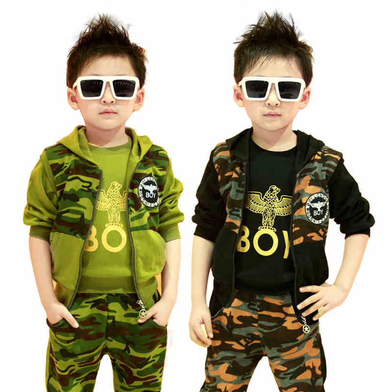 2017 New camouflage kids clothing sets for boys spring&autumn child sports clothing suits 3 colors Warm kid sets 3 pieces, HC028(China (Mainland))