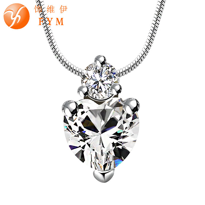 Fashion Elegant Necklace 7 Color CZ Diamond Pendant Sliver Plated Chain Top Quality for Women Wedding Party Wholesale NE0089(China (Mainland))
