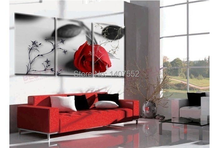 100% High Quality Modern Wall Painting art Home Wall Huge Decoration Modern Abstract Oil Painting on canvas rose wm1497(China (Mainland))