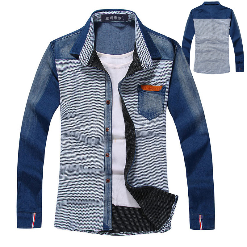 2013 spring autumn fashion mens clothes man designer casual patchwork