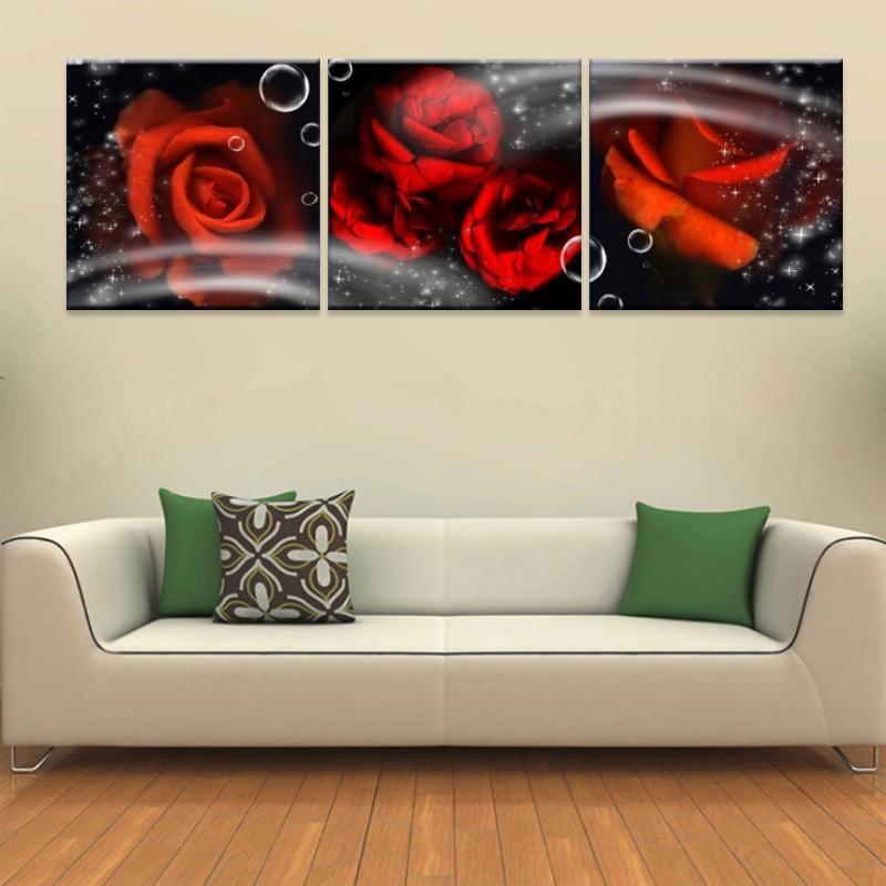 Home decor slaapkamer decoratie fantasie roos afbeelding 3 stuk canvas abstracte - Home decoration slaapkamer ...
