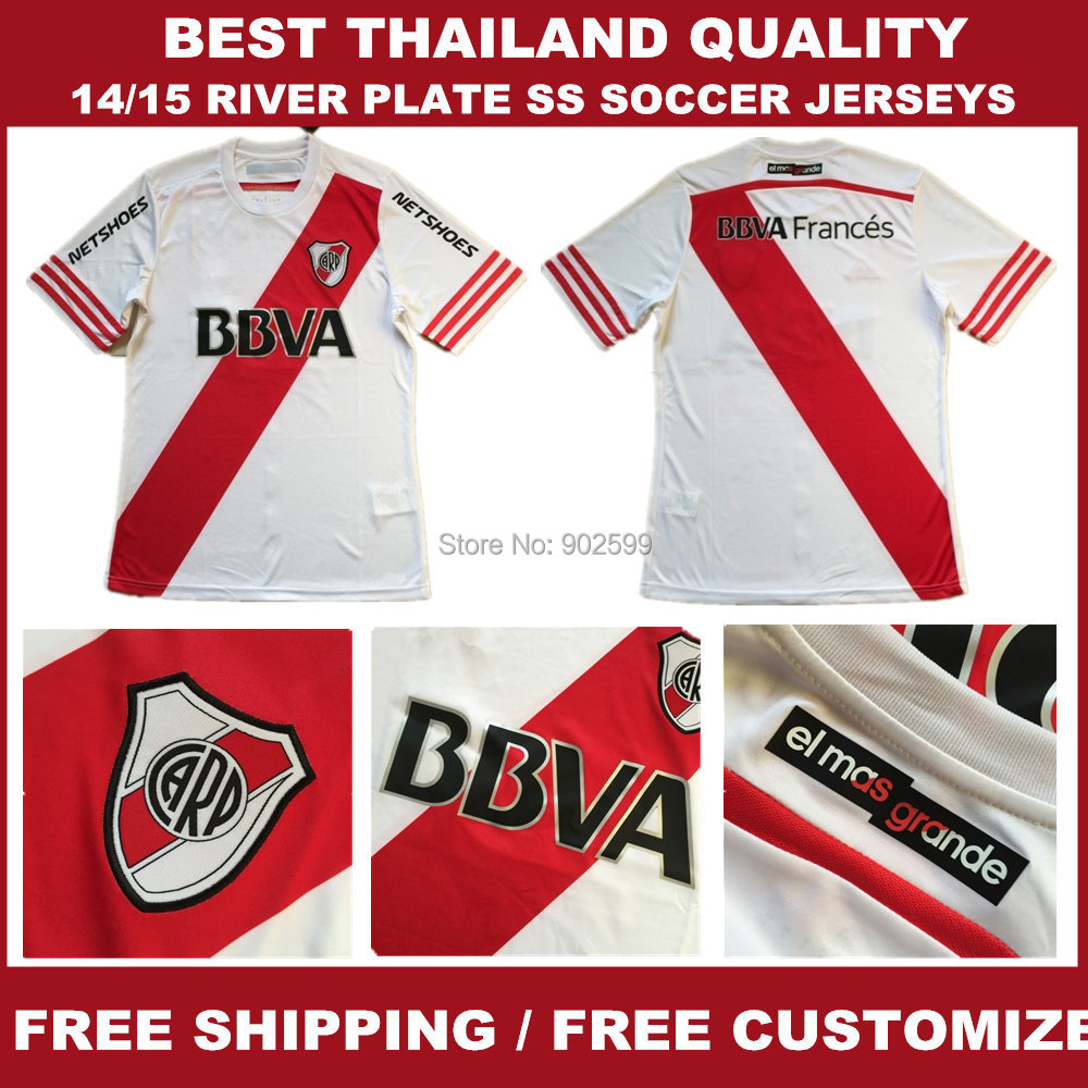 14/15 RIVER PLATE home white best quality soccer jersey, RIVER PLATE soccer jerseys, size:s-xl(China (Mainland))