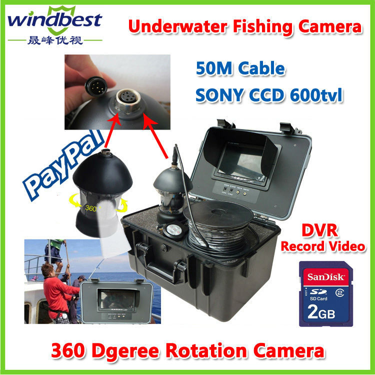 "50M Cable Underwater Fishing Camera Fish Finder SONY CCD 600TVL 7"" TFT LCD 12pcs IR/White LED Rotate 360 Degree DVR Record Video(China (Mainland))"