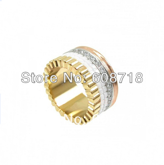 Eternal Classics Designer QUATRE RING,4 Bands Metal,3 Gold Colors,with Clear Stones and White Ceramic.Elegant Ring For Christmas(China (Mainland))