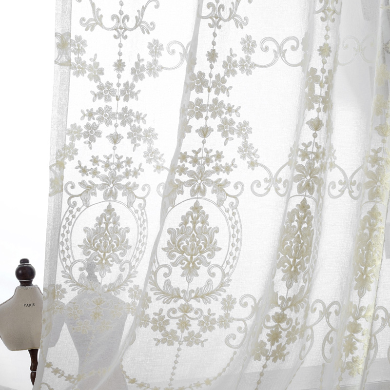 European Palace Designs Luxury Cotton Thread Embroidered Sheer Curtains For Living Room Kitchen