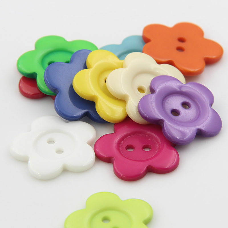 11mm flower bright mix color Resin Sewing Casual Toddler Knopf Garment loose Buttons Notions Scrapbook Crafts headband finding(China (Mainland))