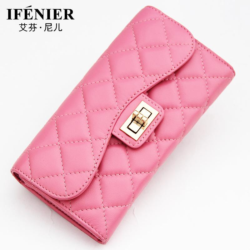 AI Finney leather wallet Female Long Wallet female Lingge package 2015 new Korean version of womens wallet card package<br><br>Aliexpress