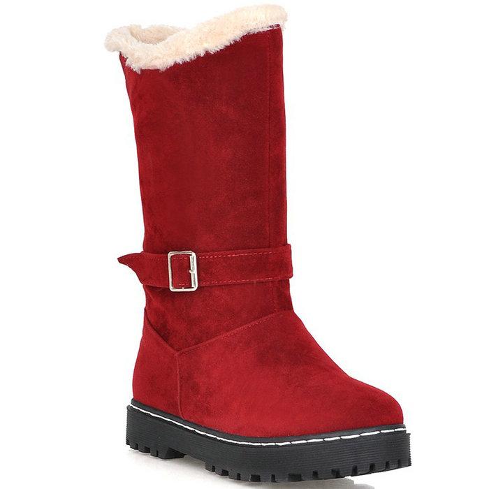 2015 Fashion Buckle Half Knee Boots Short Fur Snow Boots Flats Platform Shoes Keep Warm Winter Boots Winter Shoes Woman