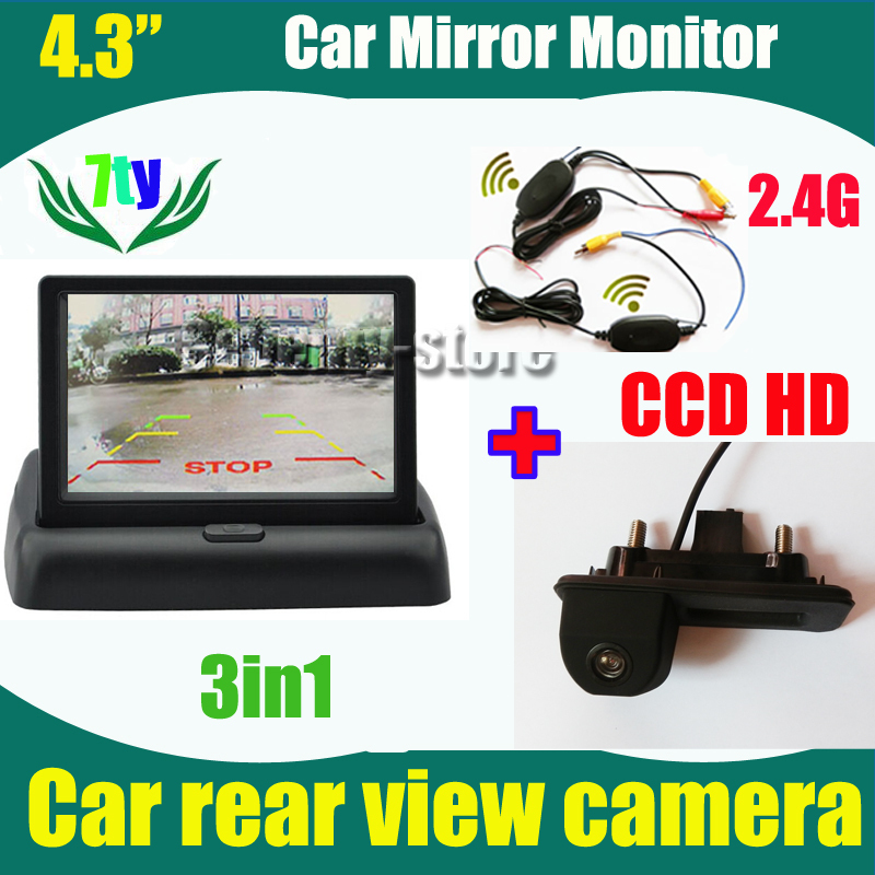"4.3"" car monitor TFT and 2.4G wireless car rearview parking reverse camera for Skoda Superb Roomster Fabia Octavia Yeti Audi A1(China (Mainland))"