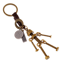 Vintage Men Adjustable Screw Robot Keychain Copper Alloy Genuine Leather Key Chains Hand Made Bag charm Holder llaveros PWK0729(China (Mainland))