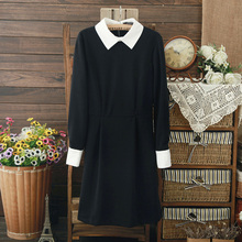 Wholesale women's clothing Ultra temperament spring dress Slim was thin with a classic black and white long sleeve lapel dresses