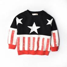 Size 100-140 fashion boys Hoodies & Sweatshirts Korea style stars flag cotton shirt tops for boys kids(China (Mainland))