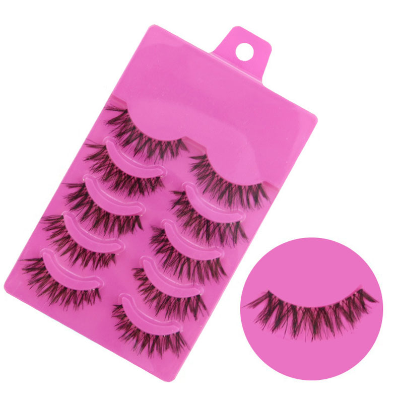 5Pair Makeup Semi-Handmade Natural Long False Eyelashes Fake Eye Lashes For Building Eyelash Extensions Wimpers Cosmetics(China (Mainland))