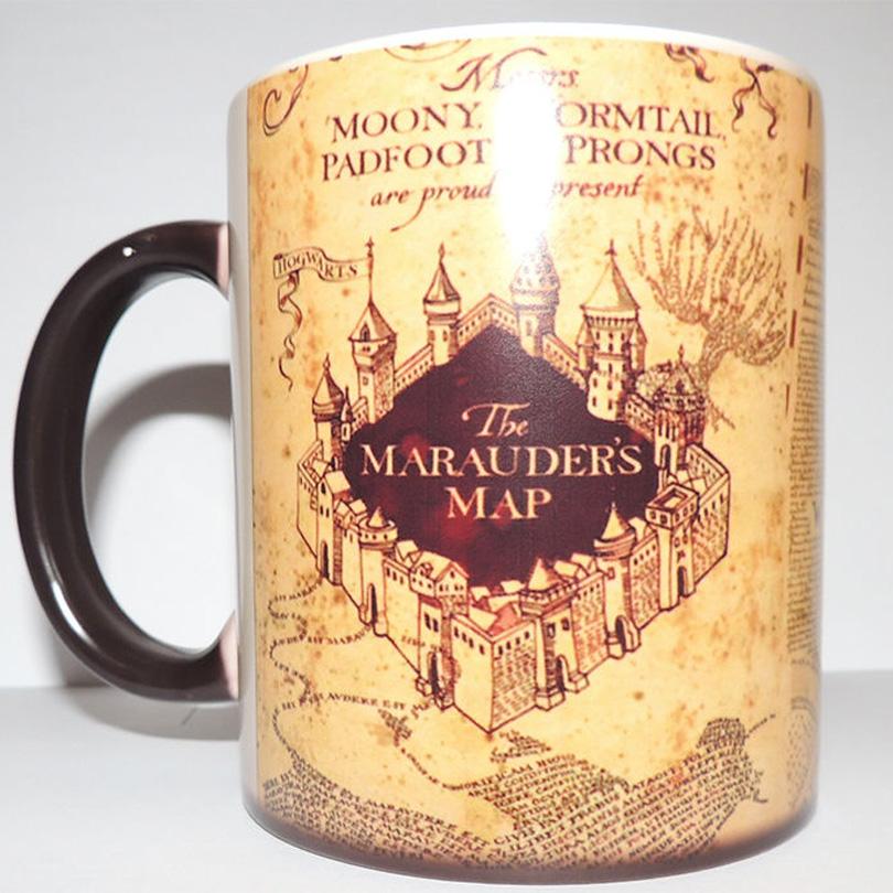 Harry Potter Marauder Map Color Changing cup mug Magic heat sensitive Coffee Mug Tea Cup gift Free Shipping(China (Mainland))